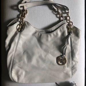 Micheal Kors White Leather Handbag
